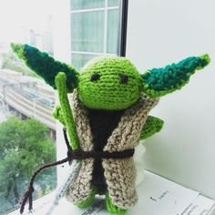 Do or do not... There is no try. #starwars #yoda #knitting #bespoke #knittersofinstagram #green #wool #commission #theforceawakens #knit