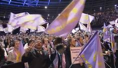 """Berlin,  March7, 2015: Iranians chant for democracy and freedom with Maryam Rajavi, in a gathering in Berlin. Tens of thousands  gathered in Berlin today to commemorate International Women's Day, in the gathering for """"Tolerance and Equality for Women""""."""