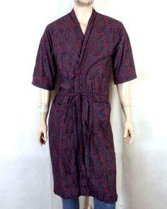1ecabb3c2d vtg 70s Hemingway Point Men s Dark Red Colorful Paisley Flannel Belted Robe  OS. Stl Vintage