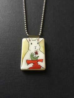 Bunny jewelry two bunnies necklace rabbit jewelry hand made bunny handmade bunny pendant rabbit necklace handmade jewelry mahjong tile jewelry easter bunny necklace white rabbit pendant easter gift negle Choice Image
