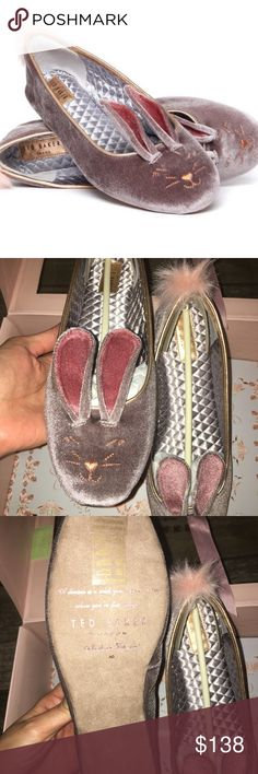 Ted Baker bellamo Gray bunny flats Super cute BRAND NEW IN THE BOX bellamo Gray bunny slippers or flats. A darling face and ears style the toe of an eye-catching flat finished with a fluffy, faux-bunny tail at the back. Cushioned OrthoLite® footbed Textile and synthetic faux-fur upper/textile lining/synthetic sole RUNS SMALL. SIZE 9 but fits a size 8 ❗️❗️❗️ Ted Baker Shoes Flats & Loafers