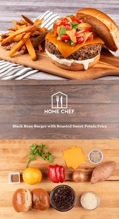 Black Bean Burger with Roasted Sweet Potato Fries And Onion-Pepper Marmalade Veggie Recipes, Indian Food Recipes, Dinner Recipes, Cooking Recipes, Healthy Recipes, Chef Recipes, Vegetarian Recipes, Healthy Food, Spiced Cauliflower