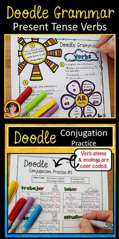 Try these Spanish Present Tense Verbs Doodle Grammar Notes and activity worksheets to keep your students focused and engaged in class.  This specific color coded technique for conjugating verbs will pique student interest and increase retention!