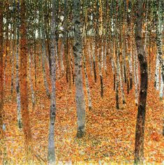 off Hand made oil painting reproduction of Beech Forest Buchenwald I, one of the most famous paintings by Gustav Klimt. Along with Apple tree I Klimt's Beech Forest Buchenwald, a landscape painted on a canvas of identical dimensions ten years pre. Gustav Klimt, Art Klimt, Art Nouveau, Franz Josef I, Beech Grove, Hansel Y Gretel, Vienna Secession, Tree Canvas, Birch Forest