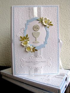 First Communion Cards, Première Communion, First Communion Invitations, First Holy Communion, Baptism Favors, All Craft, Diy Cards, Homemade Cards, Christening