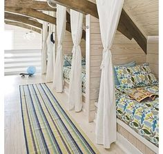 The curtain idea in this bedroom for two is a lovely idea good for shared room or boys and girls.