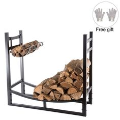 DOEWORKS Heavy Duty Firewood Racks 3 Feet Indoor/Outdoor Log Rack with Kindling for sale online Firewood Rack Plans, Firewood Logs, Firewood Holder, Firewood Storage, Custom Woodworking, Woodworking Projects Plans, Teds Woodworking, Patio Storage, Storage Racks