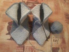 Delicadezas en crochet Gabriela: Pantuflas paso a paso en imagenes en dos agujas