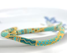 Bead Crochet Necklace Samarqand Turquoise Blue by LeeMarina, $136.00