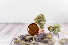 Ocher copper ring with real dried leaf. Free от FriendMeBijou