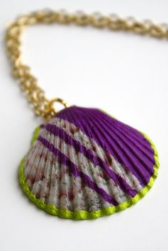 Sea Shell Necklace Pendant Purple and Green Color by SeashoreLove
