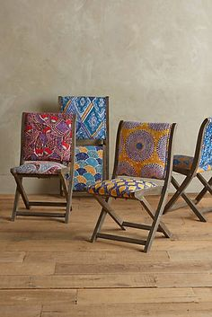 Screen-Printed Terai Folding Chair Cool idea and pieces for additional seating can be moved easily and kept out or tucked away.