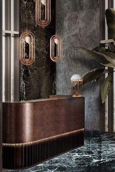 Office Interior Design, Interior Design Inspiration, Luxury Interior, Best Interior, Hotel Lobby Design, Art Deco Lighting, Modern Lighting, Sideboard Decor, Counter Design