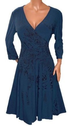 FUNFASH SMOKEY BLUE 3/4 SLEEVES WRAP COCKTAIL CRUISE DRESS Plus Size 1X XL 16 Womens New Made in USA: Price:$49.99