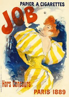 1895 Job Papier a Cigarettes Ad by Jules Cheret Fine Art Print.Fine art giclee print on heavy archival paper  Archival quality ink to last a lifetime  Made in the USA  Poster Mural, Kunst Poster, Poster S, Posters Vintage, Retro Poster, Alphabet Design, Retro Advertising, Vintage Advertisements, Jules Cheret