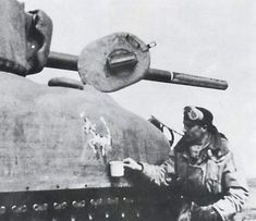 Polish VVSS and Lieutenant Tadusz Barbarski. Note barrel paint intended to make the gun look like a short barrelled Sherman Tank, Train Truck, Rubber Raincoats, Military Armor, British Army, Us Army, World War Two, Warfare, Wwii