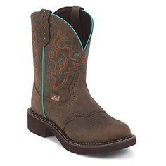 """Justin Boots Women's Gypsy Collection 8"""" Soft Toe,Barnwood Brown Cowhide/Teal Piping,7.5 B US -- Be sure to check out this awesome product."""