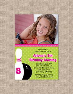 Girl Bowling Birthday Party Invitations with Photo