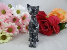 Vintage Mid Century Lovely Black Marble Siamese by SecondWindShop, $12.50