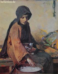 Nikiforos Lytras, Greek painter - Nun at a brazier. Greece Painting, Name Paintings, Wolves And Women, Hellenistic Period, Famous Portraits, 10 Picture, Greek Art, Chiaroscuro, Classical Art