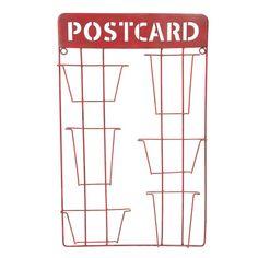 Présentoir cartes postales en métal rouge H 55 cm
