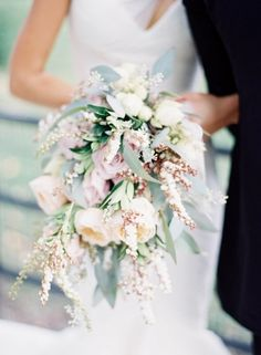 Pastel Cascading Bouquet By Michael George Flowers : white, blush and cream wedding flowers