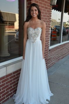 Stunning white long dress. Wear it for prom, homecoming, pageant or evening wedding! | GGM - Glamour Gowns and More