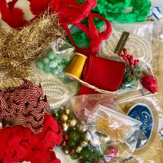 Christmas Holidays, Christmas Wreaths, Vintage Sewing Notions, Rick Rack, Old Quilts, Wooden Spools, Mercury Glass, Etsy Vintage, Quilt Blocks