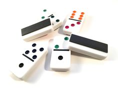 Set of 6 Recycled Domino Refrigerator Magnets, Upcycled Game Piece, Magnet Set, Number Magnet, Domino Magnets, Home Decor, Kitchen Decor by RemadeByMaria on Etsy