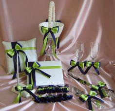 Navy Blue and Green Wedding Color  Flower Girl by All4Brides, $180.00