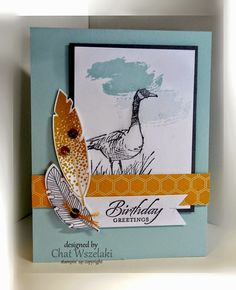 Stamps:  Wetlands, Work of Art, Four Feathers Paper:  Soft Sky, Whisper White, Basic Gray, Moonlight DSP Ink:  Basic Gray, Hello Honey, Soft Sky Accessories: sequins Tools:  Big Shot, feathers framelits ,dimensionals