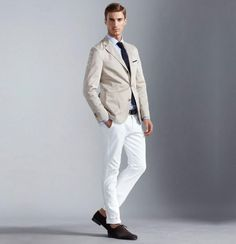 Men's Smart-Casual White Jeans with A Shirt and Blazer Outfit Lookbook