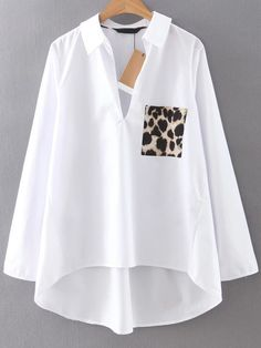 Dip Hem Blouse With Leopard Pocket online. SheIn offers Dip Hem Blouse With.- Dip Hem Blouse With Leopard Pocket online. SheIn offers Dip Hem Blouse With. Fashion Clothes, Trendy Fashion, Fashion Outfits, Fashion Black, Fashion Fashion, Fashion Ideas, Vintage Fashion, Ladies Fashion, Fashion Styles