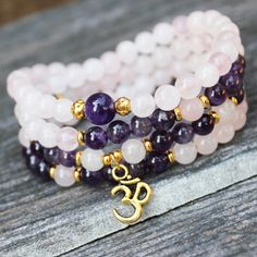 Mala Prayer Beads Yoga Bracelet with Healing Stone - Pink Purple Wrapped Wrist Jewelry Gemstone Bracelets, Gemstone Jewelry, Beaded Jewelry, Jewelry Bracelets, Handmade Jewelry, Amethyst Bracelet, Jewelry Accessories, Jewelry Design, Bijoux Diy