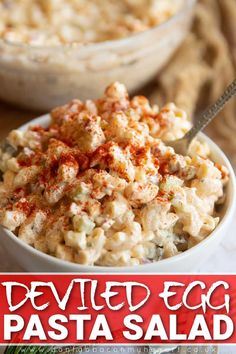 Deviled Egg Pasta Salad Recipe, Easy Pasta Salad Recipe, Deviled Eggs, Cheesy Recipes, Easy Healthy Recipes, Vegetarian Recipes, Cooking Recipes, Pasta Recipes, Food Vids