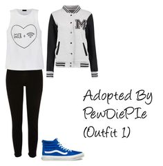 """""""Adopted By PewDiePIe (Outfit 1)"""" by thedanysimsbg ❤ liked on Polyvore featuring River Island, Ally Fashion and Vans"""