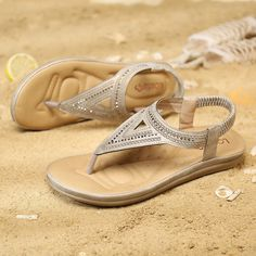 High-quality Lostisy LOSTISY Clip Toe Elastic Band Comfortable Rhinestone Summer Beach Sandals - NewChic Mobile Sandals For Sale, Beach Sandals, Top Shoes, Types Of Shoes, Womens Slippers, Summer Beach, Laos, Footwear, Clothes For Women