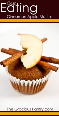Cinnamon Apple Muffins Recipe The Gracious Pantry Cinnamon Apple Muffins Recipe The Gracious Pantry Summer Kowal recipes to try These delicious clean eating cinnamon apple nbsp hellip apples toddler Healthy Treats, Healthy Baking, Healthy Desserts, Healthy Muffins, Healthy Recipes, Healthy Foods, Apple Cinnamon Muffins, Cinnamon Apples, Cinnamon Recipes