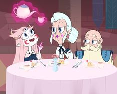 """""""Breakfast with my grandparents"""" """"Magic class with grandma moon"""" Starco, Butterfly Family, Star Butterfly, Disney Magic, Disney Art, Disney Marvel, Star E Marco, Most Popular Cartoons, Power Of Evil"""