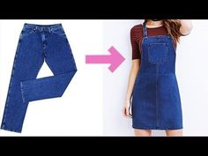 diy overalls from jeans how to make Diy Old Jeans, Recycle Jeans, Fashion Sewing, Diy Fashion, Fashion Outfits, Jean Diy, Look 80s, Diy Clothes Refashion, Diy Clothes Jeans