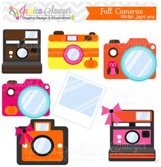 INSTANT DOWNLOAD, cute fall camera clip art, camera clipart, photography logo, for commercial use, etsy banners, marketing