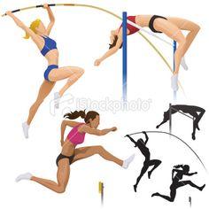 Pole Vault, High Jump & Hurdles Royalty Free Stock Vector Art Illustration