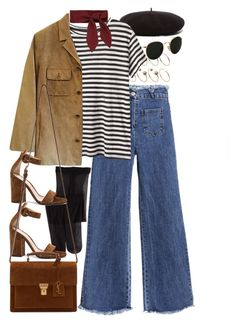 A fashion look from September 2016 featuring crew neck shirts, brown suede jacket and frayed-hem jeans. Browse and shop related looks. Cold Weather Outfits, Fall Winter Outfits, Winter Fashion, Stylish Outfits, Cute Outfits, Fashion Outfits, Indie Fashion, Women's Fashion, Mode Vintage