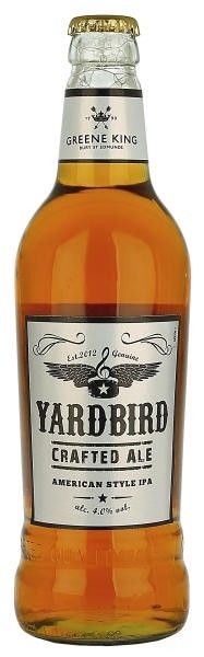 Cerveja Yard Bird, estilo Blond Ale, produzida por Greene King, Inglaterra. 4% ABV de álcool.