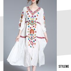 OUSHANG White Vintage V Neck Floral-embroidered Midi Dress SKU: MI3FCEE2 Material:Cotton Composition:100% Cotton Sleeve Type:3/4 sleeve Style:Vintage Neckline:V neck Silhouette:A-line Pattern Type:Floral Process:Floral-embroidered Theme:Spring/Fall,Summer Thickness:Mid-weight Elasticity:Non-stretchy Occasion:Daytime,Going out,Daily Color:White Size:S,M,L
