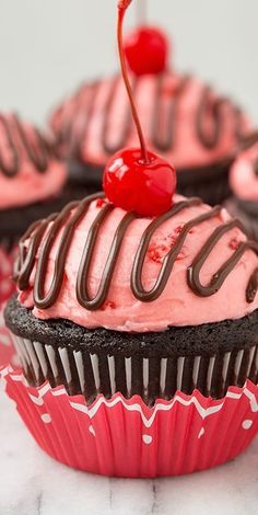 Cherry Cordial Chocolate Cupcakes - Cooking Classy