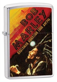 Zippo Lighter Bob Marley 1976 Tour, Brushed Chrome. Officially Licensed Collectible. Brand New High Quality Product Made in USA. Music, Sports & Entertainment Memorabilia.