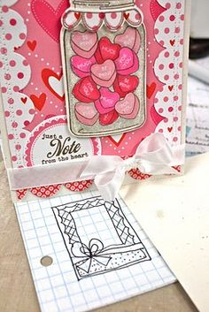 God idea for a card design:  conversation hearts in that jar stamp...another great use for the jar.