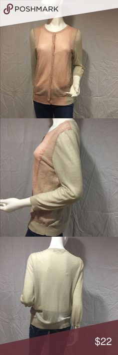 Tan cardigan with lace inlay Cute light tan cardigan with light pink colored  lace inlay on the front. Around the opening is also light pink. Can be worn buttoned or unbuttoned. Has minimal pilling, other than that in great condition. Feel free to make me a reasonable offer 💕 LOFT Sweaters Cardigans
