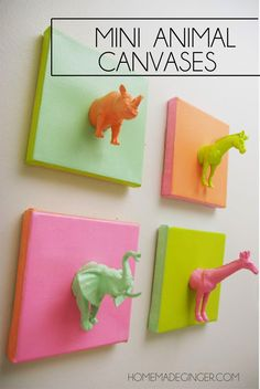 Create adorable mini animal canvases using plastic toys. Perfect for a nursery!